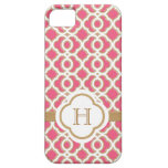 Monogrammed Hot Pink and Gold Moroccan iPhone 5 Cases