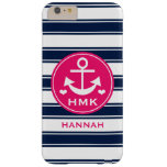 MONOGRAMMED HOT PINK AND NAVY ANCHOR BARELY THERE iPhone 6 PLUS CASE