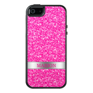 Monogrammed Hot Pink And White Glitter Pattern OtterBox iPhone 5/5s/SE Case