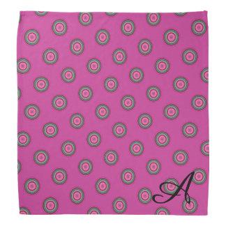 Monogrammed Hot Pink Polka Dot Pattern Bandana