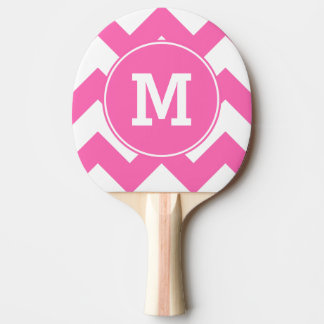 Monogrammed Hot Pink Zigzag Pattern Ping Pong Paddle