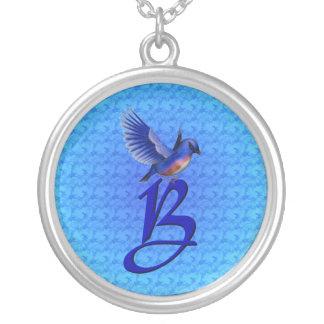 Monogrammed Initial B Elegant Bluebird Necklace