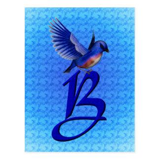 Monogrammed Initial B Elegant Bluebird Postcard