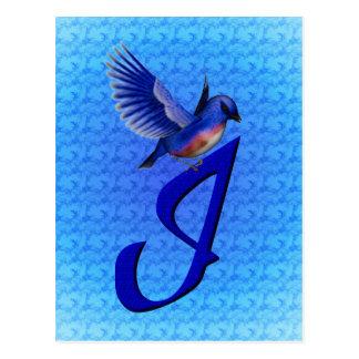 Monogrammed Initial I Elegant Bluebird Postcard