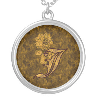 Monogrammed Initial J Gold Peony Necklace
