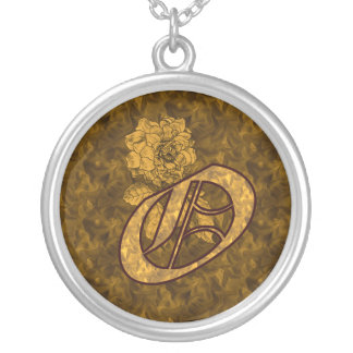 Monogrammed Initial O Gold Peony Necklace
