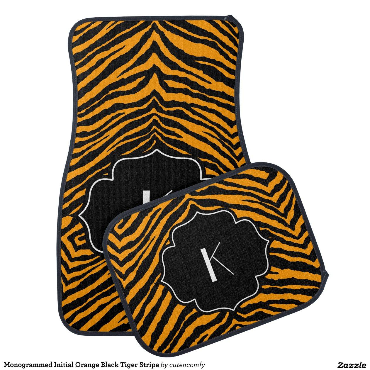 Monogrammed Initial Orange Black Tiger Stripe Floor Mat