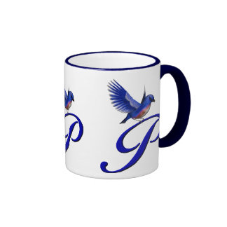 Monogrammed Initial P Elegant Bluebird Mug