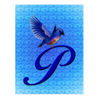 Monogrammed Initial P Elegant Bluebird Postcard