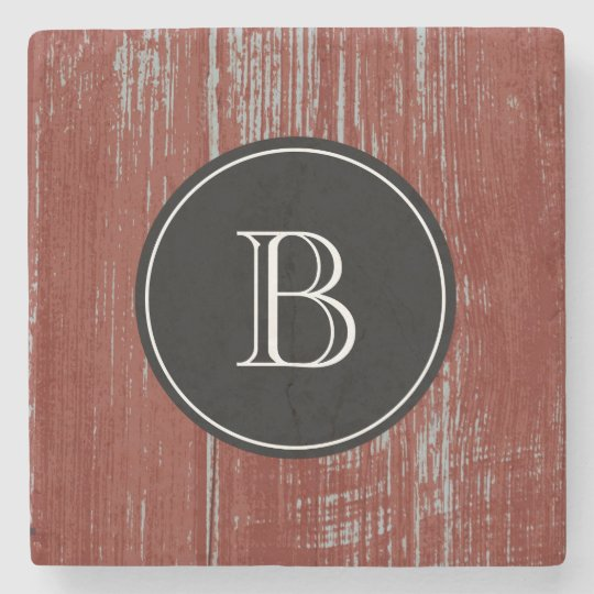 Monogrammed Initial | Rustic Red Barn Wood Stone