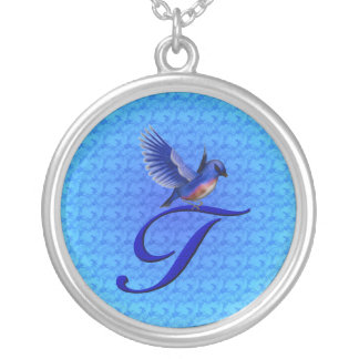 Monogrammed Initial T Bluebird Design Necklace