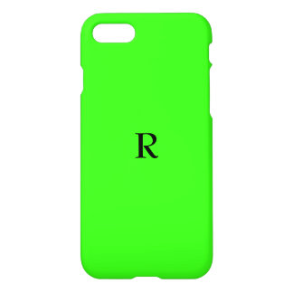 Monogrammed Initials Fluorescent Neon Green iPhone 7 Case