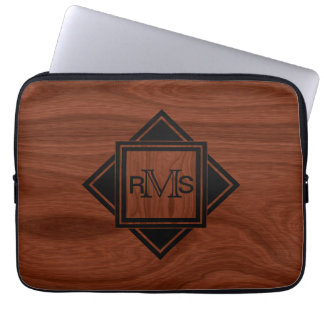 Monogrammed Initials | Mahogany Wood Grain Pattern Computer Sleeve