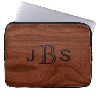 Monogrammed Initials | Mahogany Wood Grain Pattern Laptop Computer Sleeve