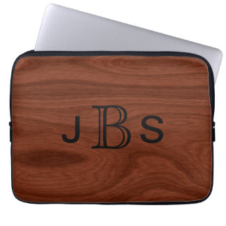 Monogrammed Initials | Mahogany Wood Grain Pattern Laptop Sleeve