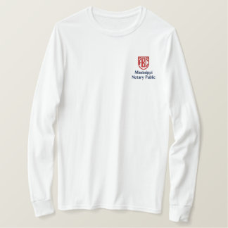 Monogrammed Initials Notary Public Mississippi Embroidered Long Sleeve T-Shirt