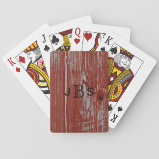 Monogrammed Initials | Rustic Red Barn Wood Grain Playing Cards