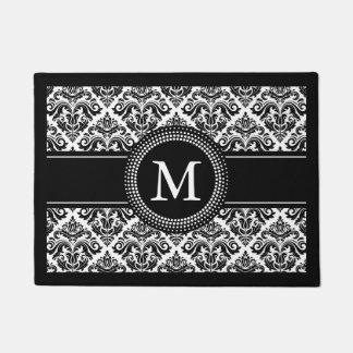 Monogrammed Initials Vintage Black White Damask Doormat