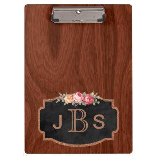 Monogrammed Initials Vintage Roses Wood Rose Gold Clipboard