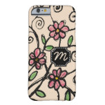 Monogrammed iPhone 6 Case|Rustic Floral Pattern