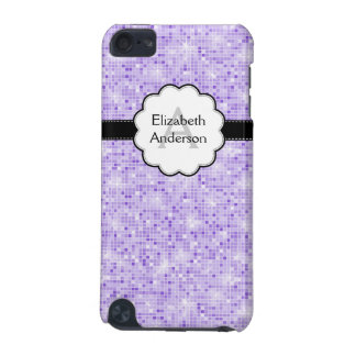 Monogrammed IPod Touch Case Purple sparkle Pattern