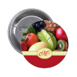 Monogrammed Juicy Natural Delicious Fresh Fruits Button