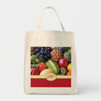 Monogrammed Juicy Natural Delicious Fresh Fruits Tote Bag