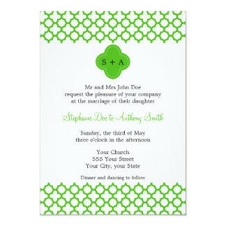 Monogrammed Kelly Green Quatrefoil Pattern Wedding Card