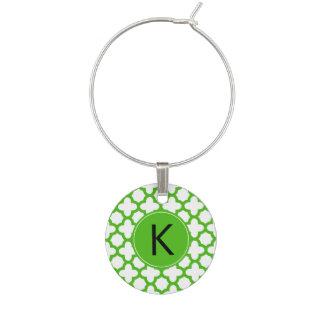 Monogrammed Kelly Green Quatrefoil Pattern Wine Charm