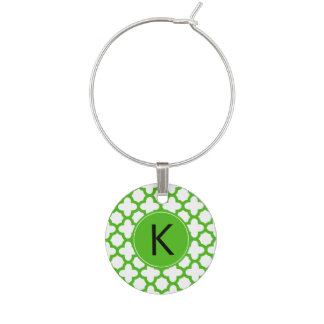Monogrammed Kelly Green Quatrefoil Pattern Wine Glass Charms