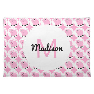 Monogrammed Kids Pink Pig Pattern Animal Pigs Place Mats