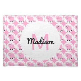 Monogrammed Kids Pink Pig Pattern Animal Pigs Placemat