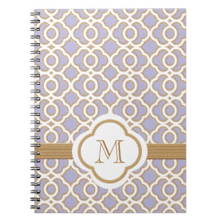 Monogrammed Lavender and Gold Moroccan Notebook