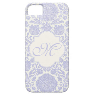 Monogrammed Lavender Floral Damask Barely There iPhone 5 Case