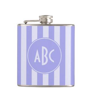 Monogrammed Lavender Stripes Hip Flask