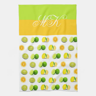 Monogrammed Lemon, Lime and Orange Dishtowel Tea Towel