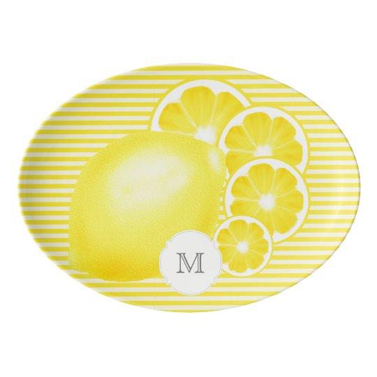 Monogrammed Lemonade Stand Platter Porcelain Serving Platter