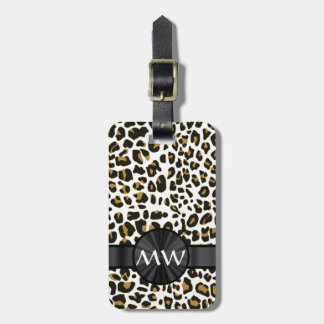 Monogrammed leopard print luggage tag