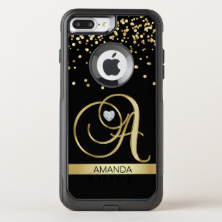 Monogrammed Letter 'A' Gold Heart Diamond Heart OtterBox Commuter iPhone 8 Plus/7 Plus Case
