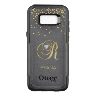 Monogrammed Letter 'R' Gold Heart Diamond Heart OtterBox Commuter Samsung Galaxy S8+ Case