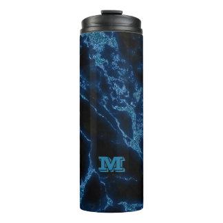 Monogrammed Light Blue Glitter Thermal Tumbler