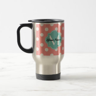 Monogrammed Light Coral Polka Dots Pattern Travel Mug