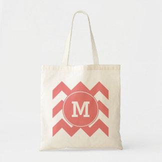 Monogrammed Light Coral Zigzag Pattern Tote Bag