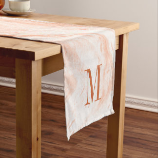 Monogrammed Light Orange And White Marble Stone Short Table Runner