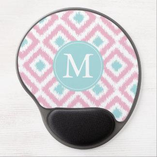 Monogrammed Light Pink Mint Diamond Ikat Pattern Gel Mouse Pad