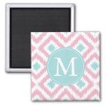 Monogrammed Light Pink Mint Diamonds Ikat Pattern