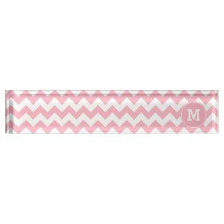 Monogrammed Light Pink Zigzag Pattern Name Plate