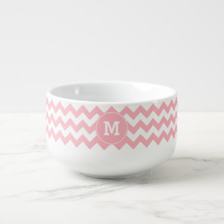 Monogrammed Light Pink Zigzag Pattern Soup Mug
