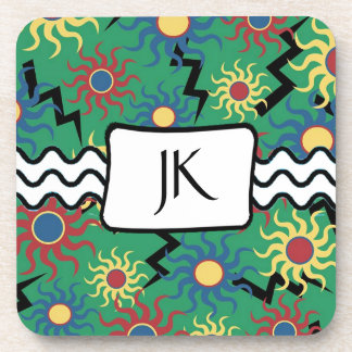Monogrammed Lightning Bolts and Suns Abstract Coaster
