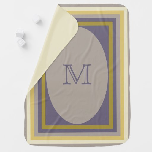 Monogrammed lilac and gold Baby Blanket